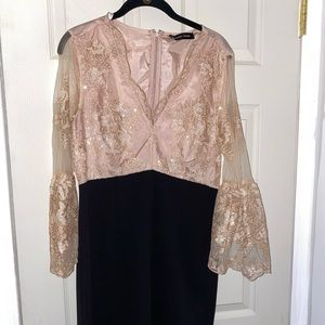 Classy Ivanka Trump appliqué lace dress